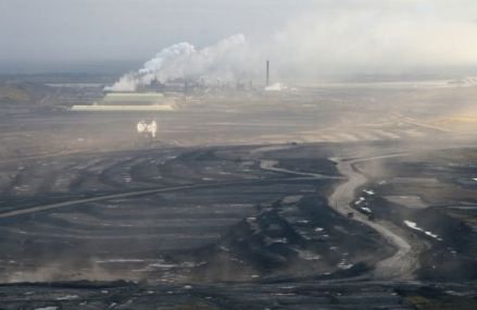 Aerial view of tar sands extraction in Alberta (via The Nation)